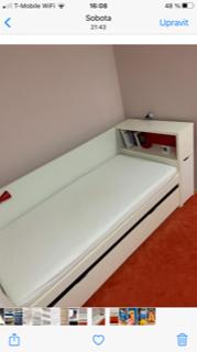 Prodám bílou postel 90x200 s vysokým rámem