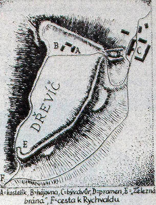 Schéma hradiště Dřevíč